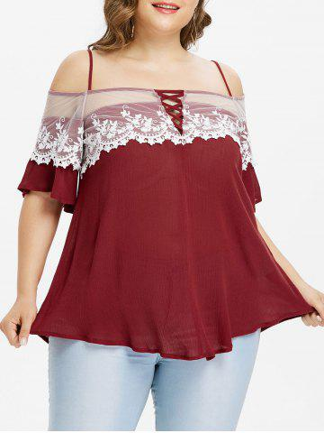 Trendy Plus Size Lace Trim Bell Sleeve Blouse