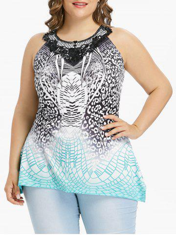 New Plus Size Print Lace Panel Tank Top