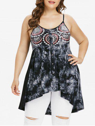 Fashion Plus Size Empire Waist Tie Dye Tank Top