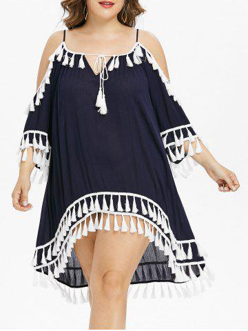 Cheap Plus Size Cold Shoulder Tassel Cover Up Dress