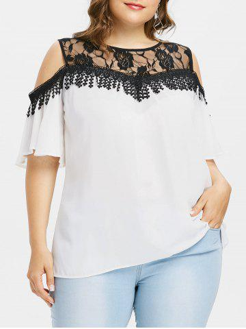 Cheap Cold Shoulder Plus Size Lace Panel Blouse