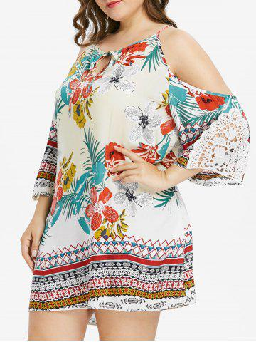 Keyhole Neck Plus Size Floral Print Dress