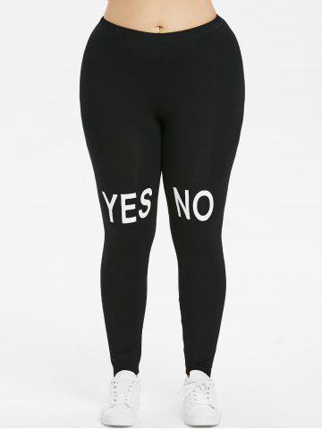Cheap Plus Size Contrast Letter Print Leggings