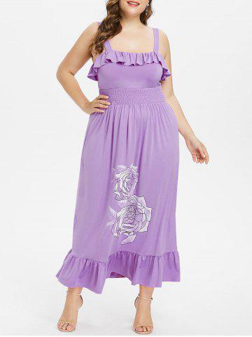 Outfits Plus Size Ruffle Square Collar Maxi Dress