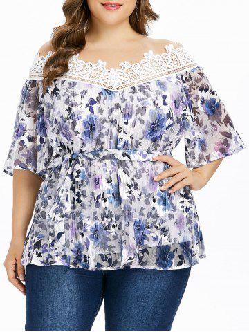 Outfit Plus Size Floral Pleated Blouse with Tie Belt