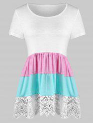 Color Block Lace Panel Flounce Tunic Tee -