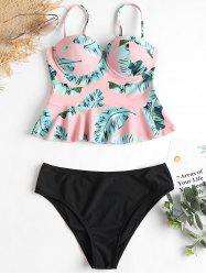 High Leg Leaves Print Peplum Tankini -