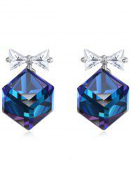 Crystal Bowknot Square Decorative Stud Earrings -