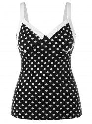 Plus Size Empire Waist Polka Dot Tank Top -