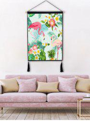Flower Flamingo Print Wall Tassel Hanging Painting -