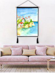 Painting Beach Villa Print Wall Tassel Hanging Painting -