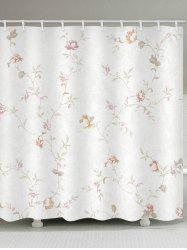 Floral Branch Print Waterproof Bathroom Shower Curtain -