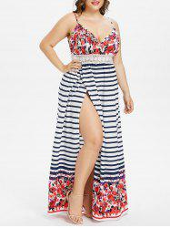 Striped Floral Print Plus Size Maxi Dress -
