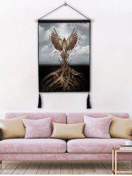 Tree Eagle Print Wall Rolling Tassel Hanging Painting -