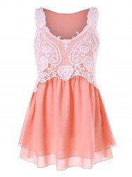 Lace Panel Chiffon Tank Top -