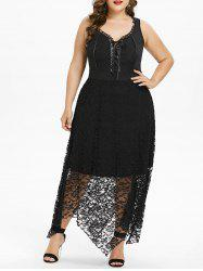 Plus Size Lace Up Handkerchief Dress -