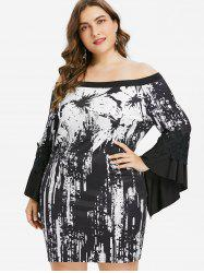 Plus Size Bell Sleeve Off Shoulder Dress -