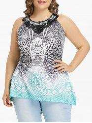 Plus Size Print Lace Panel Tank Top -
