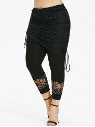 Plus Size Cinched Ties Skirted Ninth Leggings -