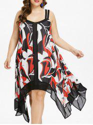 Plus Size Print Sleeveless Handkerchief Dress -
