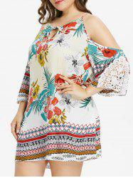Keyhole Neck Plus Size Floral Print Dress -
