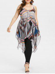 Plus Size Geometric Flowing Handkerchief Tank Top -