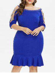 Plus Size Embellished Knee Length Mermaid Dress -