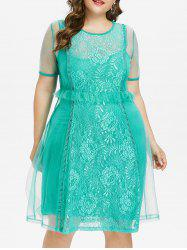 Plus Size Lace Trim Knee Length Dress -