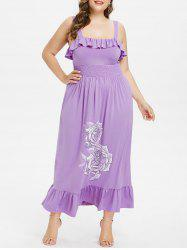 Plus Size Ruffle Square Collar Maxi Dress -