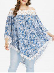 Plus Size Paisley Bell Sleeve Bohemian Blouse -