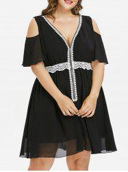 Plus Size Cold Shoulder Fit and Flare Dress -