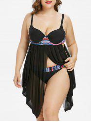 Plus Size Sheer Mesh Skirted Tankini Set -