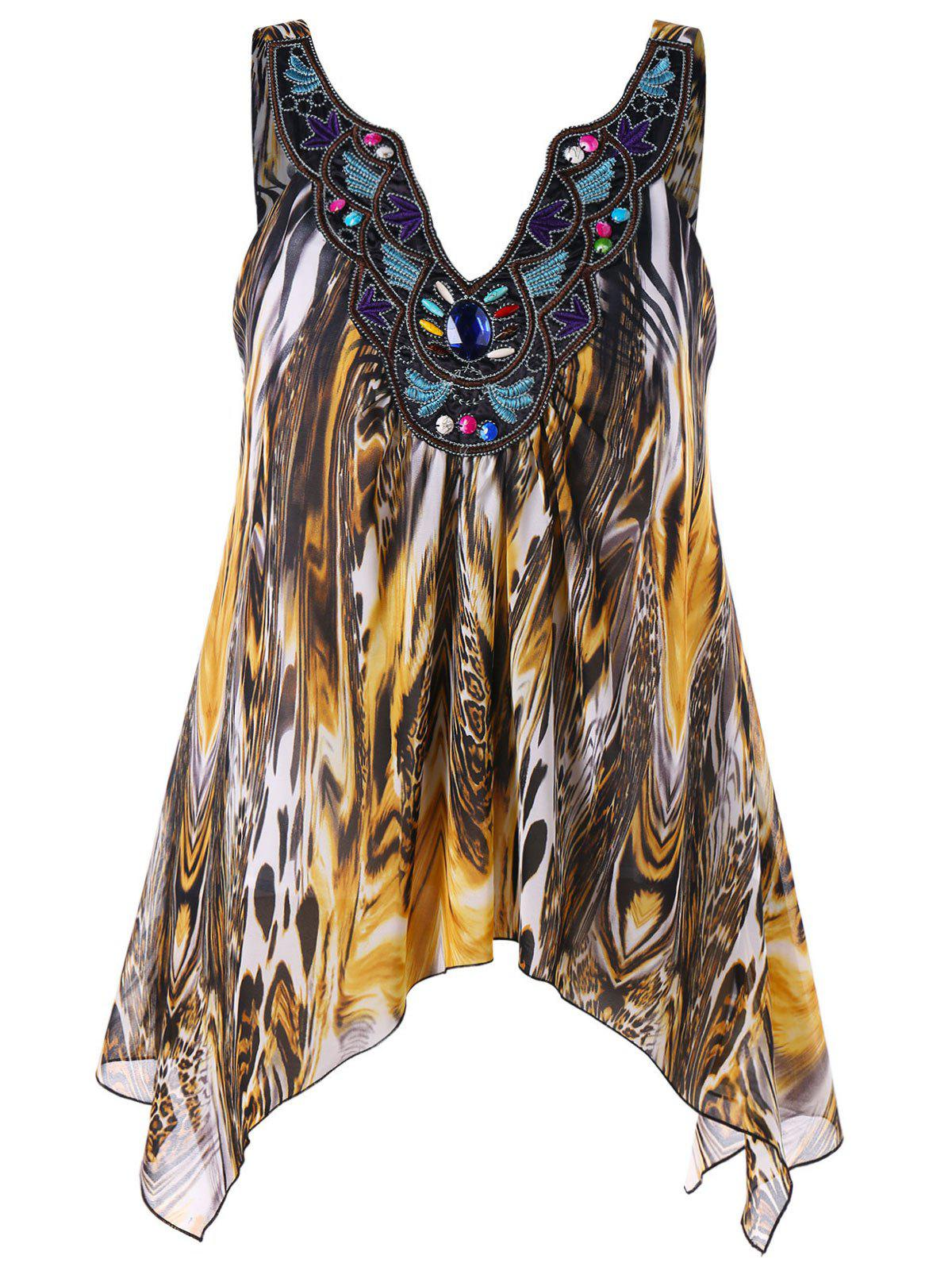 New Plus Size Embroidery V Neck Leopard Tank Top