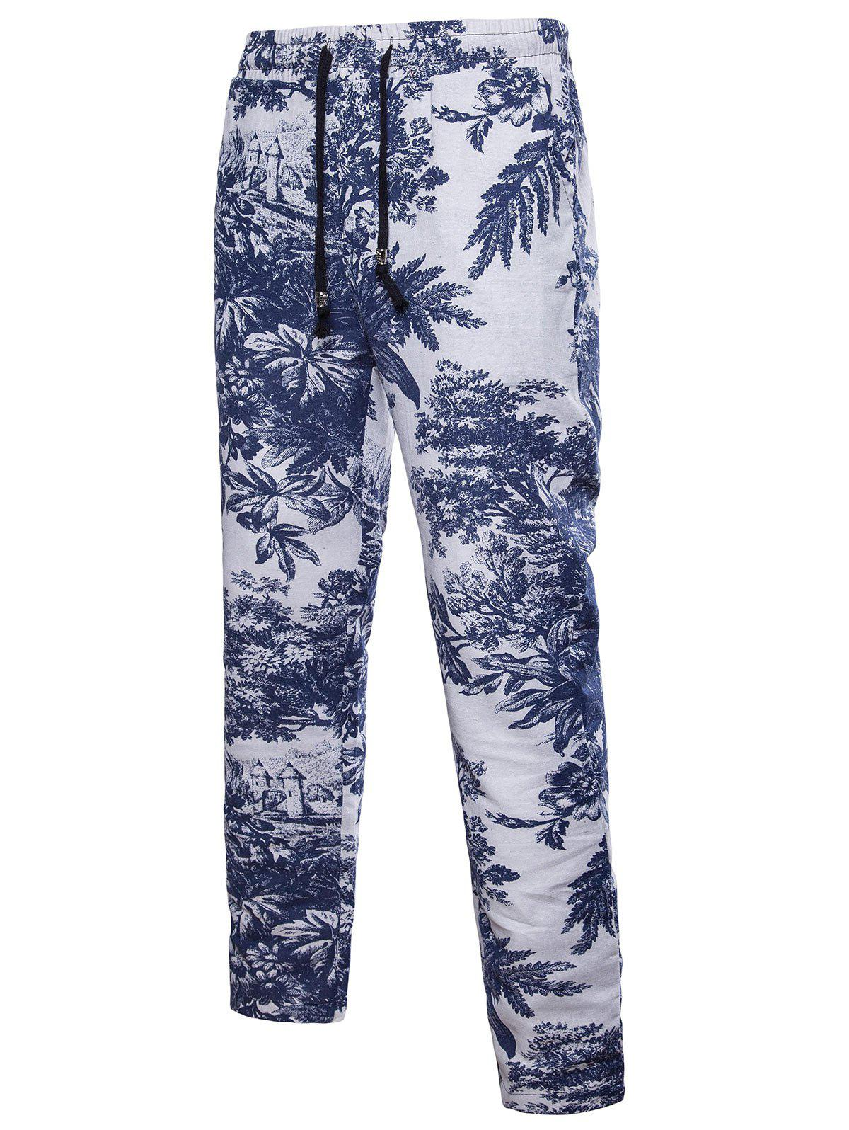 Cheap Ethnic Flowers Print Drawstring Casual Pants