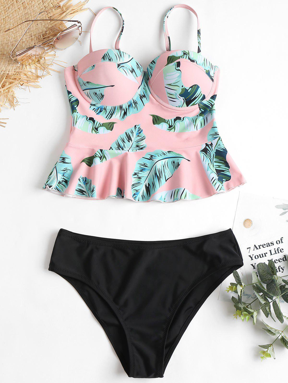 Outfits High Leg Leaves Print Peplum Tankini