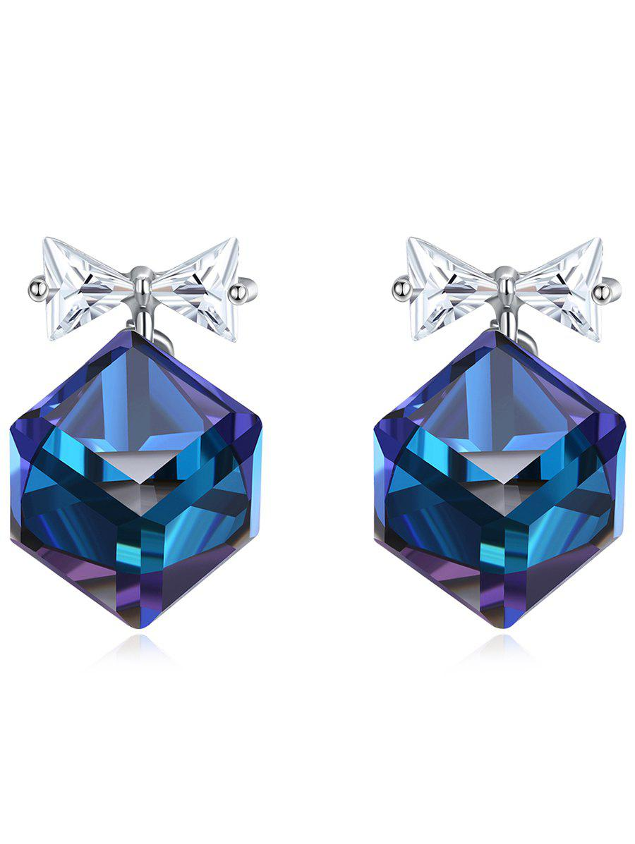 Trendy Crystal Bowknot Square Decorative Stud Earrings
