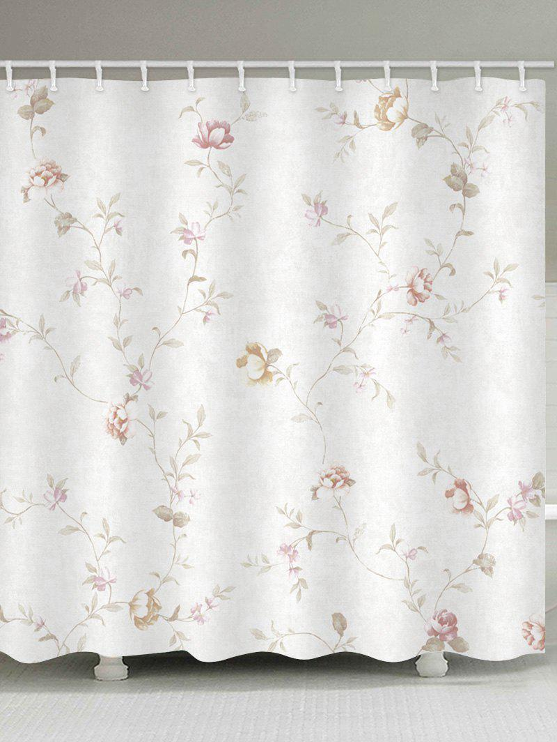 Affordable Floral Branch Print Waterproof Bathroom Shower Curtain
