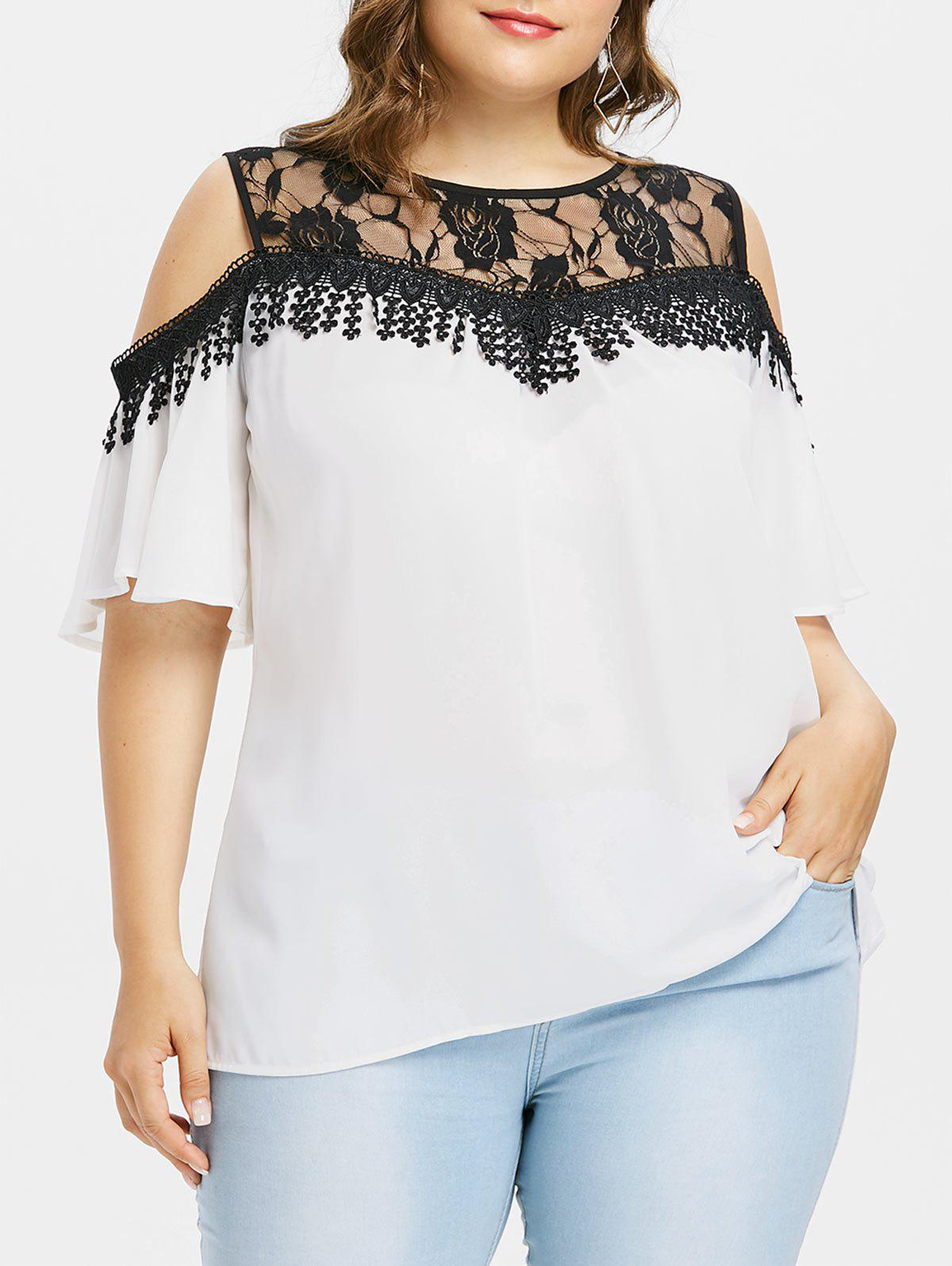 Unique Cold Shoulder Plus Size Lace Panel Blouse