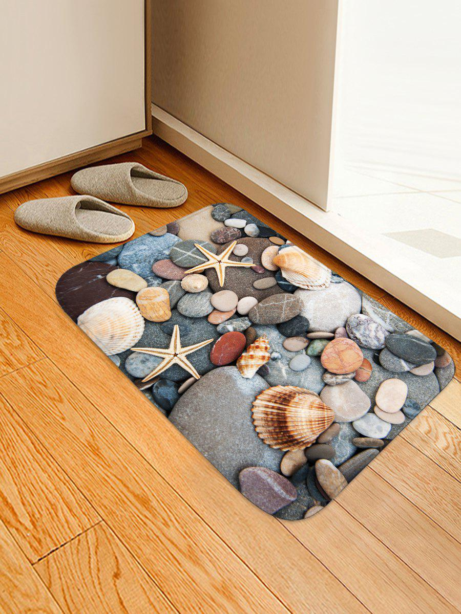 Best Cobblestone Seashell Starfish Print Floor Rug