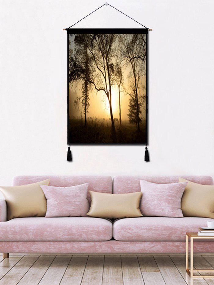 Chic Trees Sunset Wall Rolling Tassel Hanging Painting