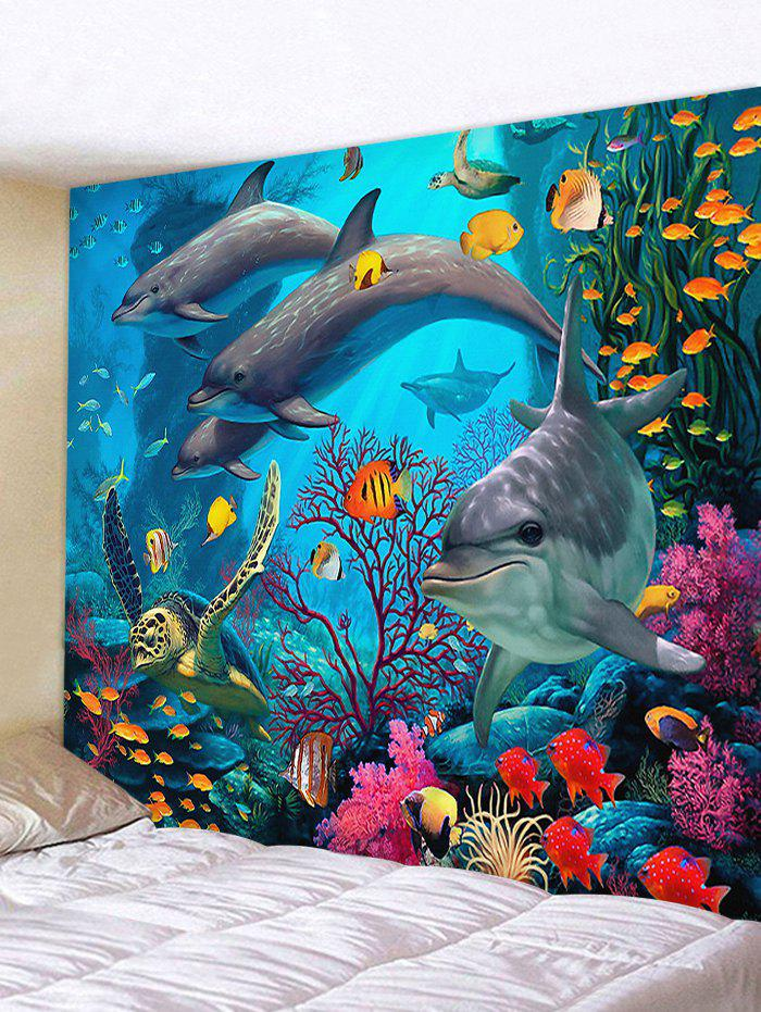 Fancy 3D Dolphin Sea World Print Wall Tapestry