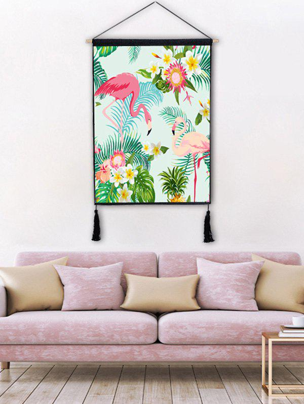 Affordable Flower Flamingo Print Wall Tassel Hanging Painting