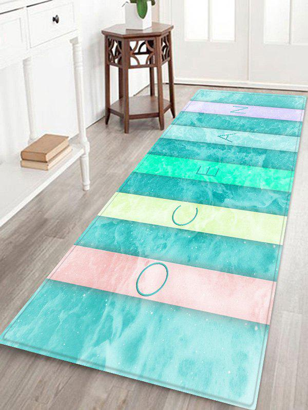 Discount Colorful Letter Sea Wave Print Antislip Floor Rug
