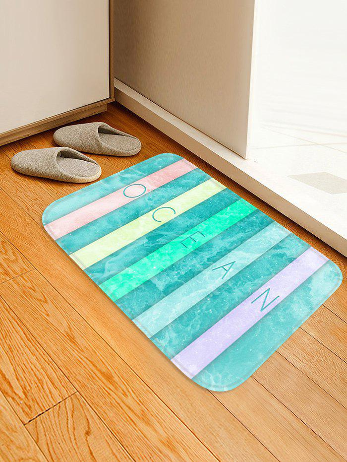 Trendy Colorful Letter Sea Wave Print Antislip Floor Rug