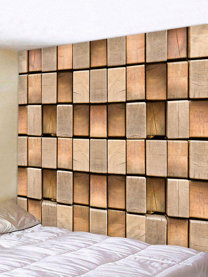 Fashion 3D Cube Wood Print Wall Art Tapestry