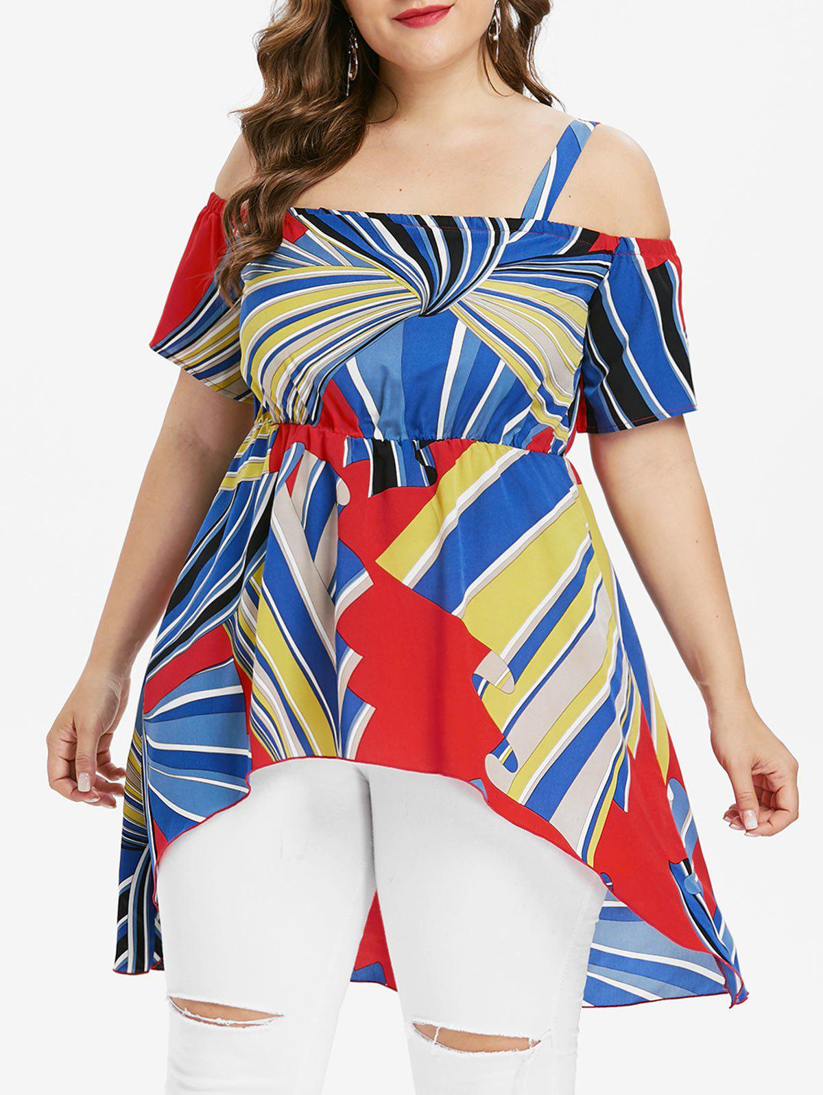 Outfits Open Shoulder Plus Size High Low Blouse