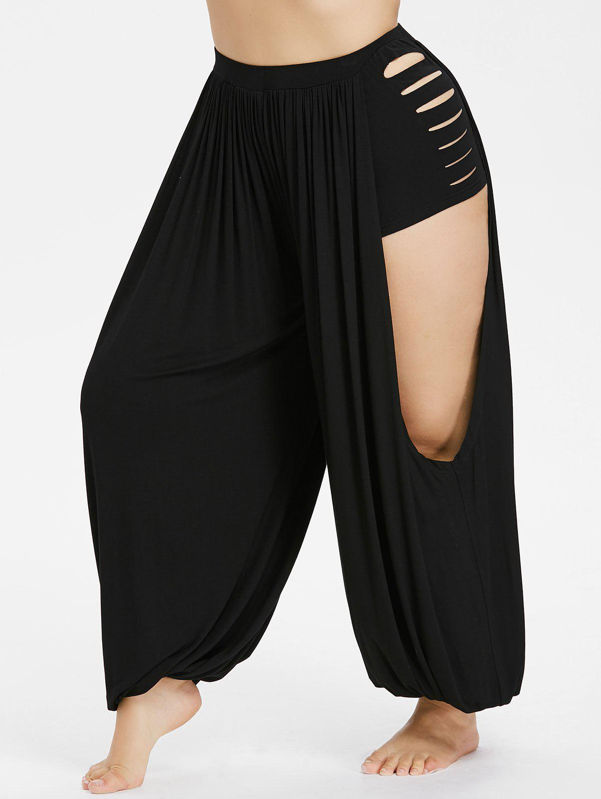 Fancy Plus Size Ripped Open Harem Pants