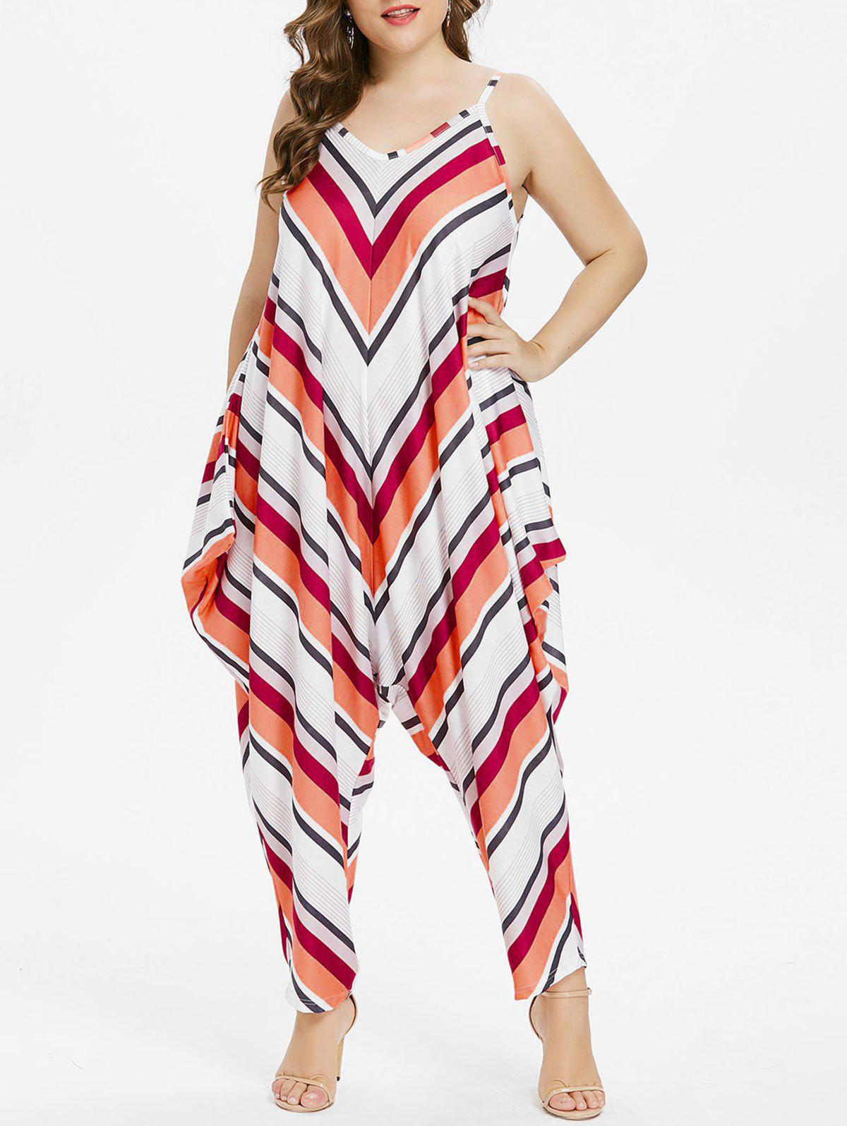 Shops Plus Size Striped Spaghetti Strap Baggy Jumpsuit