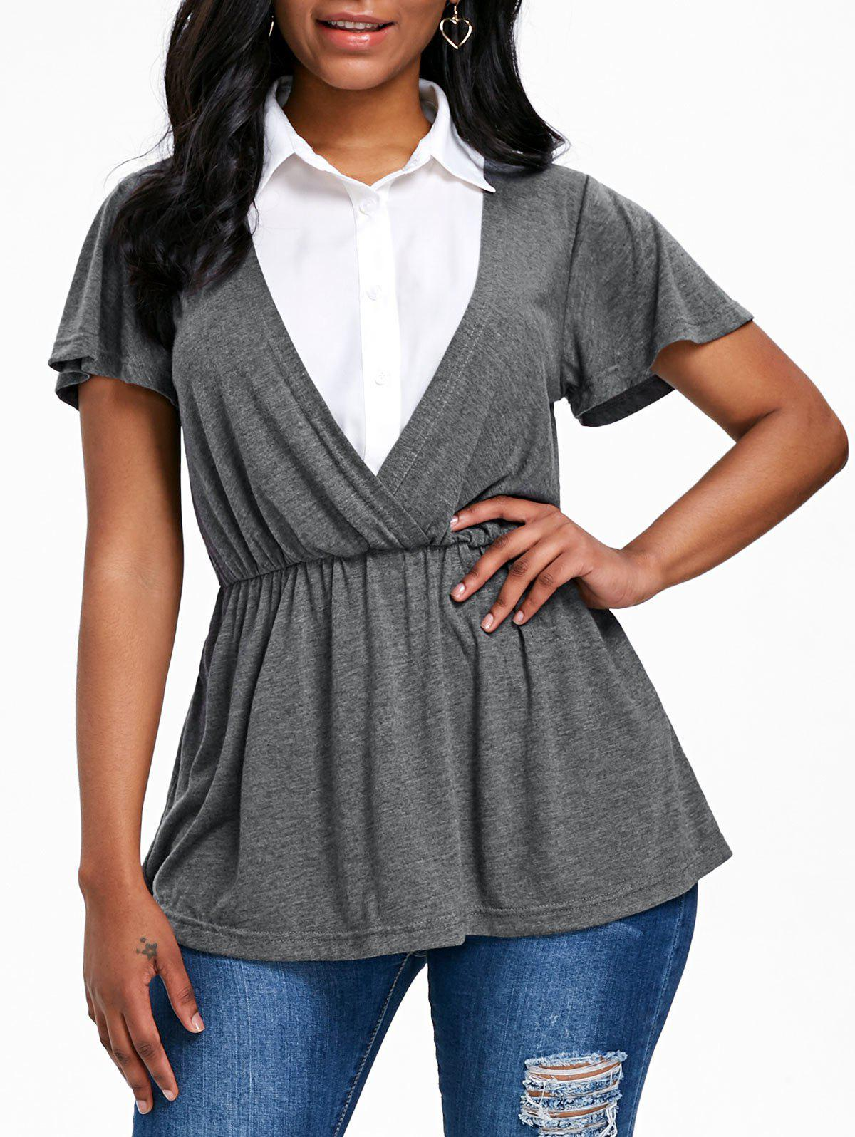 Sale Short Sleeve Faux Twinset T-shirt