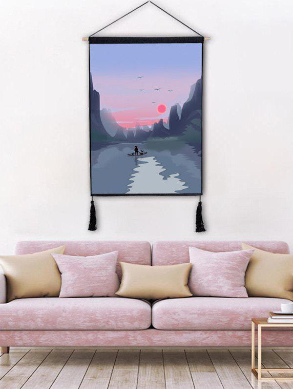 Outfit Sunset River Mountians Wall Decor Tassel Hanging Painting